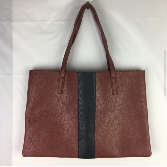 Vince Camuto Handbags - Vince Camuto Brown Colour Block Vegan Leather Tote